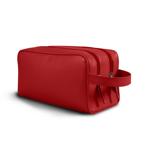 Toiletry Bag with Two Compartments (10.8 x 5.9 x 4.7 inches) - Red - Smooth Leather