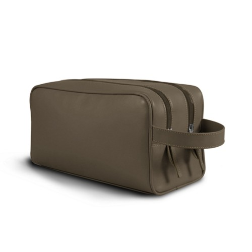 Toiletry Bag with Two Compartments (10.8 x 5.9 x 4.7 inches) - Dark Taupe - Smooth Leather