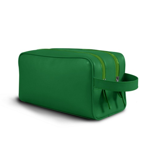 Toiletry Bag with Two Compartments (10.8 x 5.9 x 4.7 inches) - Light Green - Smooth Leather