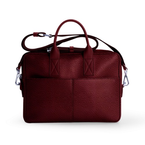 15-inches laptop bag - Burgundy - Granulated Leather