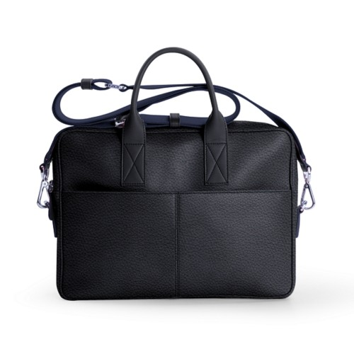 15-inches laptop bag - Navy Blue - Granulated Leather