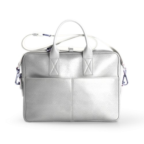 15-inches laptop bag - White - Granulated Leather