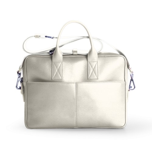 15-inches laptop bag - Off-White - Granulated Leather