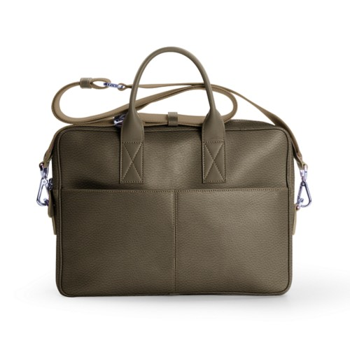 15-inches laptop bag - Dark Taupe - Granulated Leather