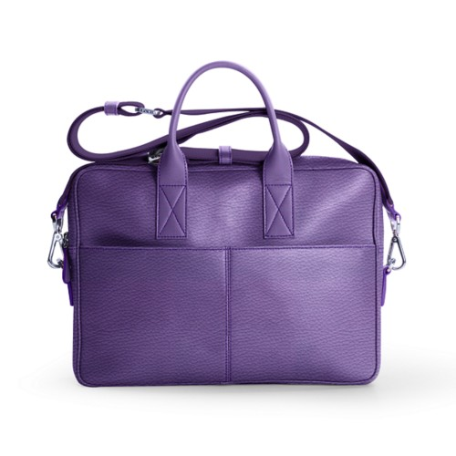 15-inches laptop bag - Lavender - Granulated Leather
