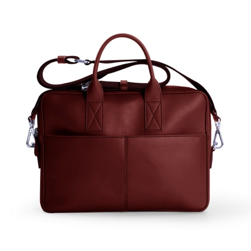 15-inches laptop bag - Burgundy - Smooth Leather
