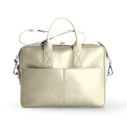15-inches laptop bag - Off-White - Smooth Leather
