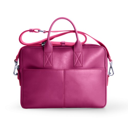 15-inches laptop bag - Fuchsia  - Smooth Leather