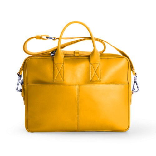 15 inch laptop bag - Sun Yellow - Smooth Leather