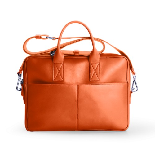 15-inches laptop bag - Orange - Smooth Leather