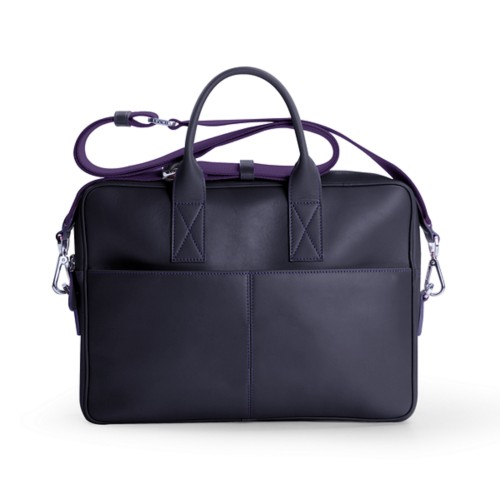 15-inches laptop bag - Purple - Smooth Leather