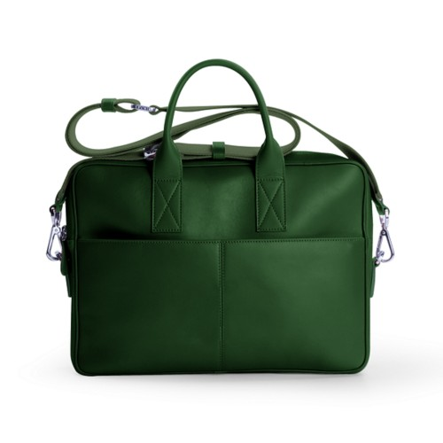 15 inch laptop bag - Dark Green - Smooth Leather
