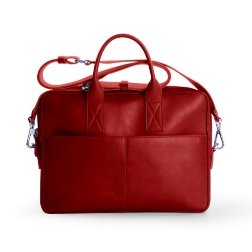 15 inch laptop bag - Carmine - Vegetable Tanned Leather