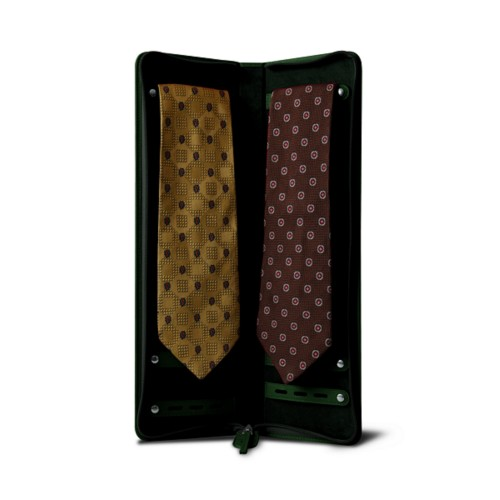 Ties and cuff links holder - Dark Green - Smooth Leather