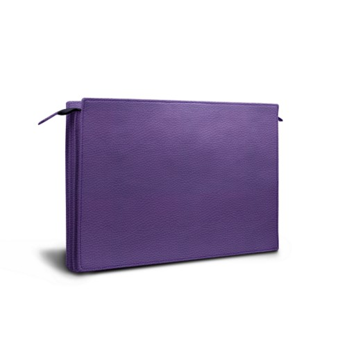 Document case - 3 compartments - Lavender - Granulated Leather
