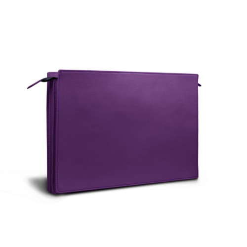 Document case - 3 compartments - Lavender - Smooth Leather