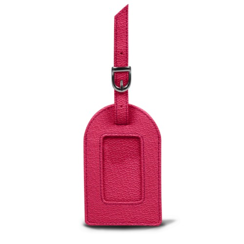 Oval luggage label - Fuchsia  - Goat Leather