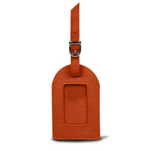 Oval luggage label - Orange - Goat Leather