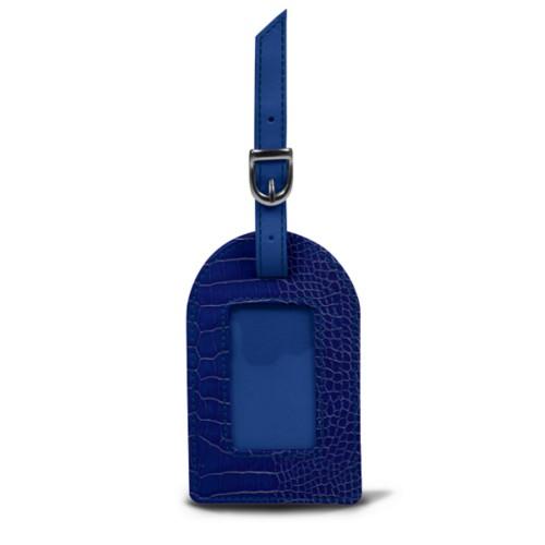 Oval luggage label - Royal Blue - Crocodile style calfskin