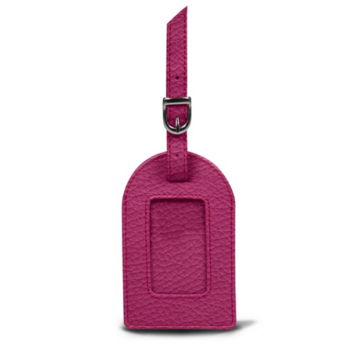 Oval luggage label - Fuchsia  - Granulated Leather