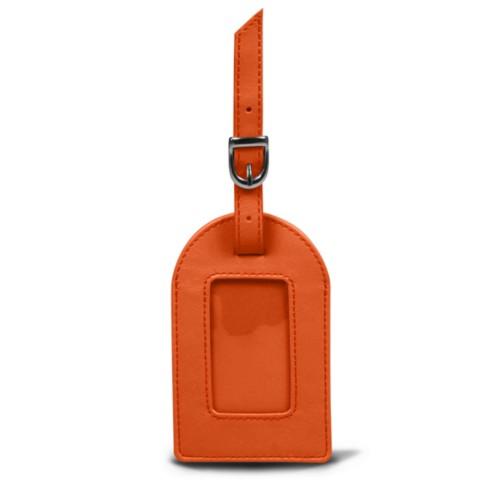 Oval luggage label - Orange - Smooth Leather