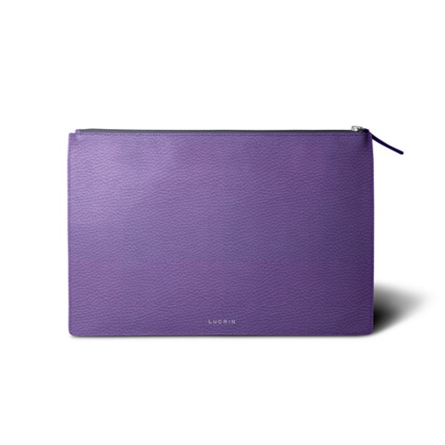 Flat document case size A4 - Lavender - Granulated Leather