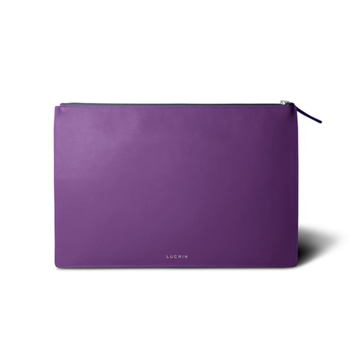 Flat document case size A4 - Lavender - Smooth Leather