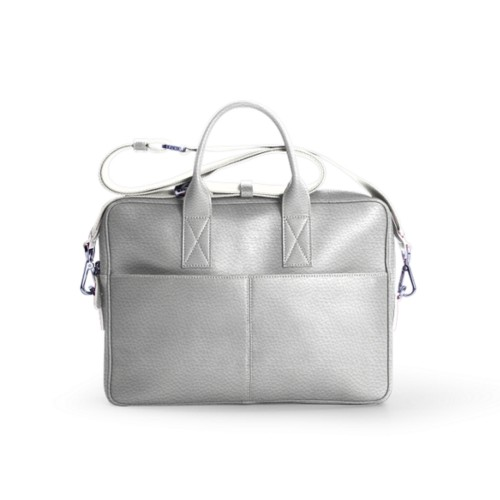Satchel for 13 inch laptop - White - Granulated Leather