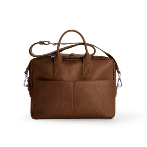 Satchel for 13 inch laptop - Tan - Granulated Leather