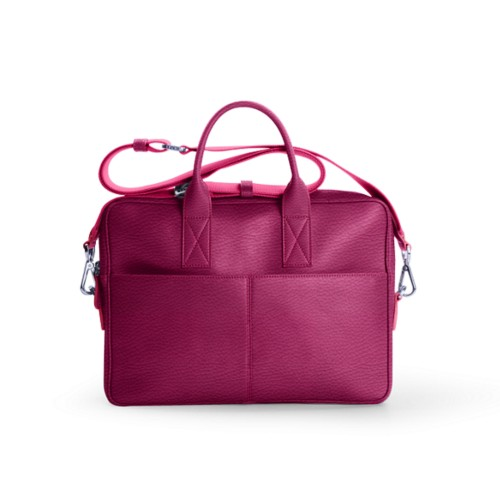 Satchel for 13 inch laptop - Fuchsia  - Granulated Leather