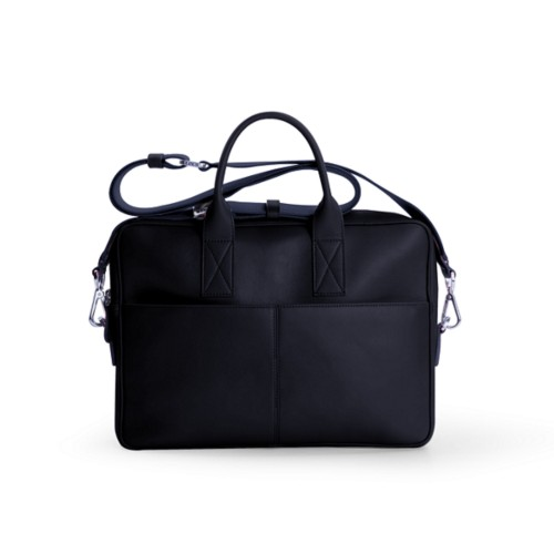Satchel for 13 inch laptop - Navy Blue - Smooth Leather