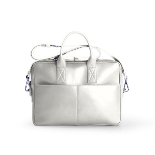 Satchel for 13 inch laptop - White - Smooth Leather