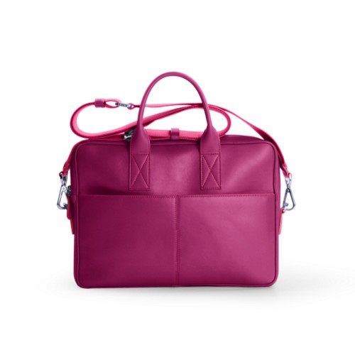 Satchel for 13 inch laptop - Fuchsia  - Smooth Leather
