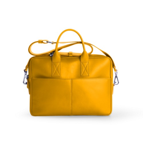 Satchel for 13 inch laptop - Sun Yellow - Smooth Leather