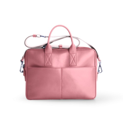 Satchel for 13 inch laptop - Pink - Smooth Leather