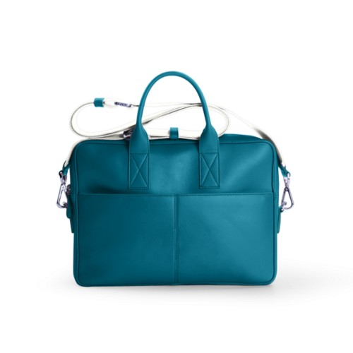 Satchel for 13 inch laptop - Turquoise - Smooth Leather