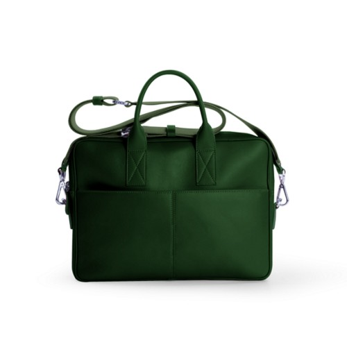 Satchel for 13 inch laptop - Dark Green - Smooth Leather