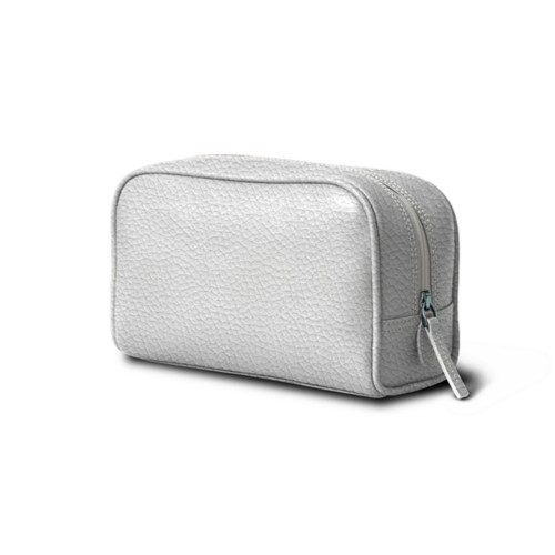 Small Wash Bag (7.7 x 4.9 x 2.9 inches) - White - Granulated Leather