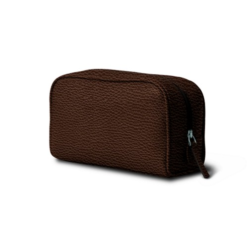 Small Wash Bag (7.7 x 4.9 x 2.9 inches) - Dark Brown - Granulated Leather