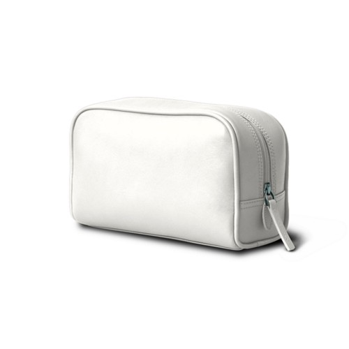 Small Wash Bag (7.7 x 4.9 x 2.9 inches) - White - Smooth Leather