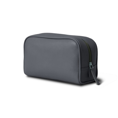 Small Wash Bag (7.7 x 4.9 x 2.9 inches) - Mouse-Grey - Smooth Leather