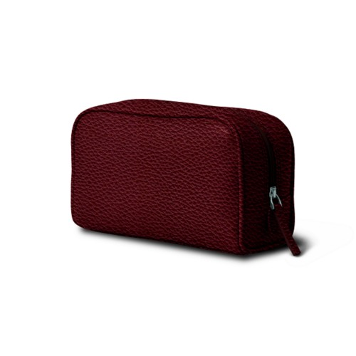 Cosmetic Case for Travel (7.7 x 4.9 x 3 inches) - Burgundy - Granulated Leather