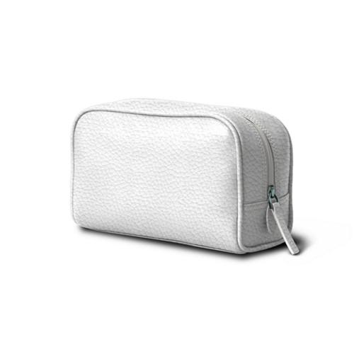 旅行用コスメポーチ (19.5 x 12.5 x 7.5 cm) - White - Granulated Leather