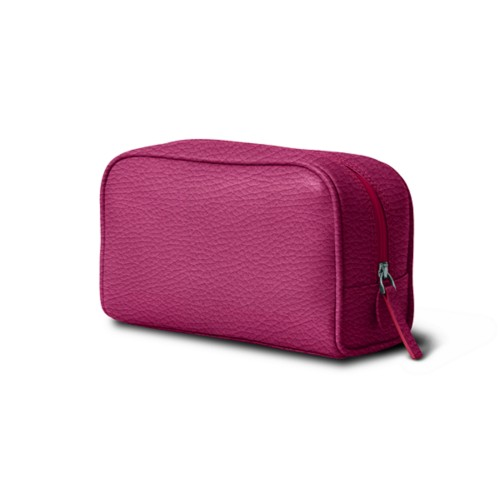 Cosmetic Case for Travel (19.5 x 12.5 x 7.5 cm) - Fuchsia  - Granulated Leather