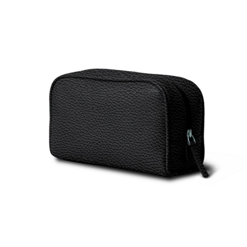 Cosmetic Case for Travel (7.7 x 4.9 x 3 inches) - Black - Granulated Leather