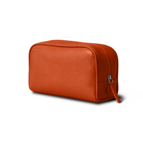 Cosmetic Case for Travel (7.7 x 4.9 x 3 inches) - Orange - Granulated Leather