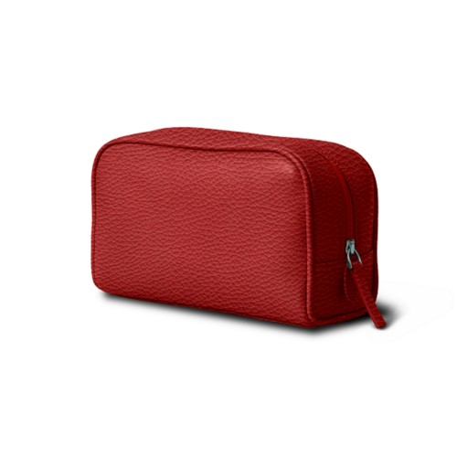 Cosmetic Case for Travel (7.7 x 4.9 x 3 inches) - Red - Granulated Leather