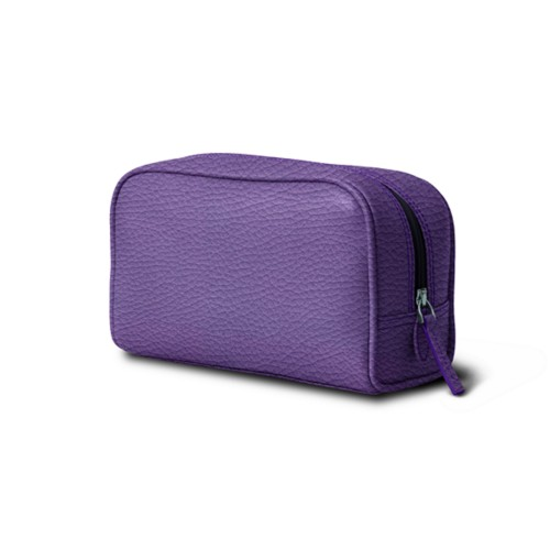 Cosmetic Case for Travel (7.7 x 4.9 x 3 inches) - Lavender - Granulated Leather