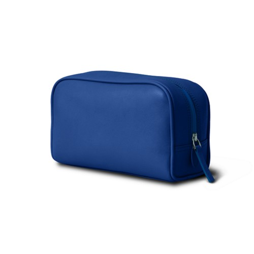 Cosmetic Case for Travel (7.7 x 4.9 x 3 inches) - Royal Blue - Smooth Leather