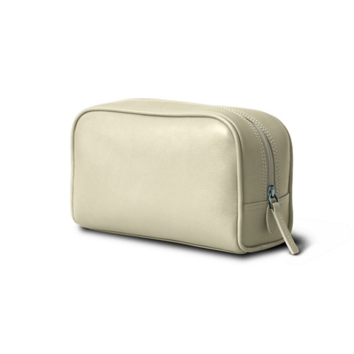 Cosmetic Case for Travel (19.5 x 12.5 x 7.5 cm) - Off-White - Smooth Leather